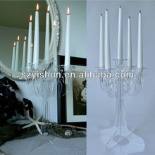Manufacturing customized clear acrylic candelabra clear glass candelabra