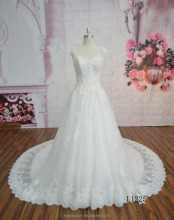 L1225 Fluffy princess style lace long sleeve wedding dresses with transparent bodice