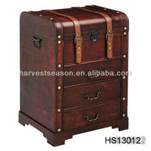 antique wooden storage treasure trunk chest with three drawer