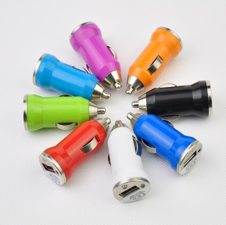 innovative idea product mini colorful usb car charger with ABS 5V1A accessories for car