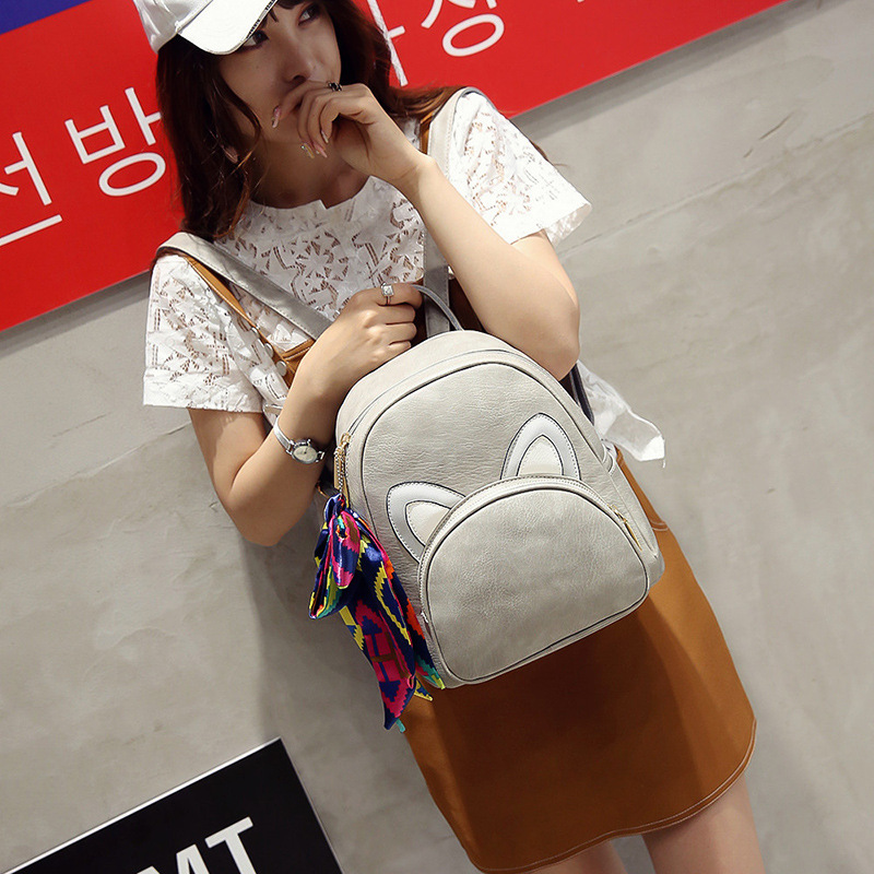 PU Girls Leather Backpack Bags Womens 3D Ears Cartoon Backpack