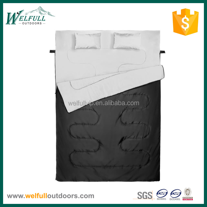 Double rectangular sleeping bag with pillows
