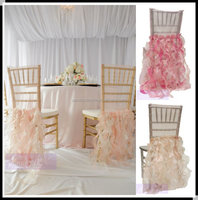 Luxury ruffled wedding chair covers/curly willow chair sashes for banquet