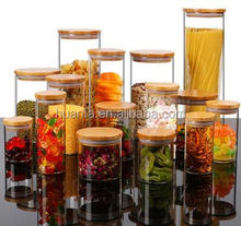 High quality Unbreakable Kitchen Use Hermetic Glass Storage Jar transparent glass jar with wooden lid and Cork Top