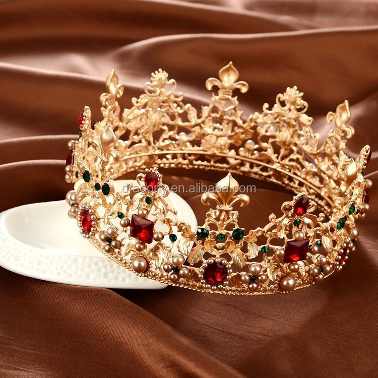 Gorgeous Simulated Red Ruby Crystal Full Round <strong>Crowns</strong> Bridal Gold Tiaras Pageant Party Tiara