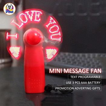 Christmas gift 2018 handheld LED display mini custom message LED fan