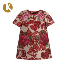 2018 Summer Fashion <strong>Girl's</strong> Short Sleeve Loose Embroidered <strong>Dress</strong>