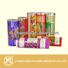 Metallized laminated food safe plastic film roll for packing toffee candy wrapper