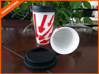 12OZ Ceramic coffee mug rubber lid with custom logo