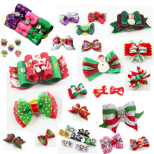 Handmade Christmas Pet Grooming Accessories Products Dog Bow Hair Bows Charms Gift Cat Beauty Products