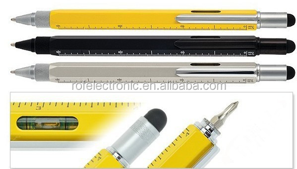 multi-function 6 in 1 Copper Smart Tool Pen with Stylus Spirit Level Scale Ruler Screwdriver