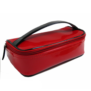 Red Rectangle PVC Soft Ladies Toiletry Bag Waterproof With Clear Window