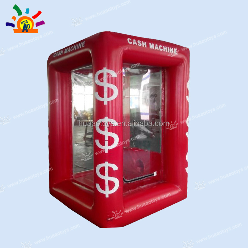 Best quality Airtight 0.6mm PVC inflatable cash machine cash cube,money machine inflatable cash booth with 2 blowers