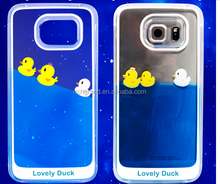 Fashion design 3d liquid rubber duck swimming floating hard phone case For Samsung Galaxy S6/S6 Edge/Note3/Note4