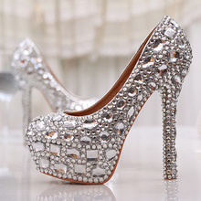 Party Wear Women High Heels Silver Rhinestone Wedding Party Prom Shoes Luxury Full Crystal Bridal Shoes