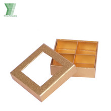 Lid And Base With Clear PVC Window Golden Metallic Compartment Inlay Tray Macaron/Chocolate Packaging Gift Box