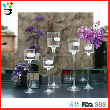 Table Decor.Centerpieces Long Stem Lovely Clear Monet Glass Candle Holder