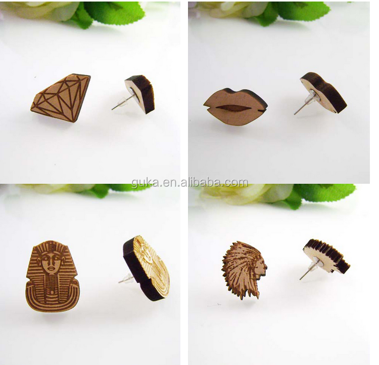 New fashion cute stud earrings Hiphop lip shaped wooden earrings