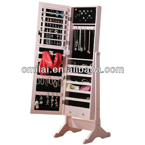 stand mirror jewelry armoire with full length mirror and jewery cabinet inside