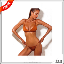 custom italian lycra sexy mature women seamless shiny bikini swimwear