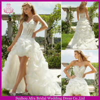 QQ265 organza sexy see through bodice sexy short front long back wedding dress