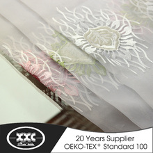 new style high quality flower embroidered organza ready made drapes and curtains