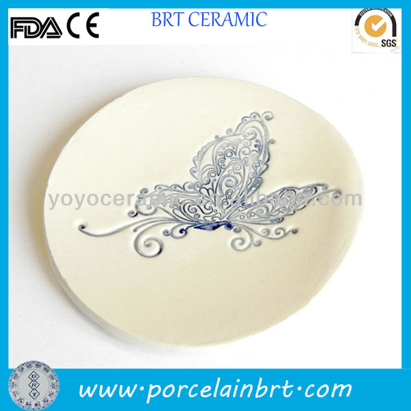 White Pottery Ring Handmade Decorative Ceramic Plate