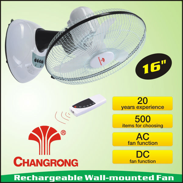 16 inch rechargeable portable charge wall hanging fan with wire remote