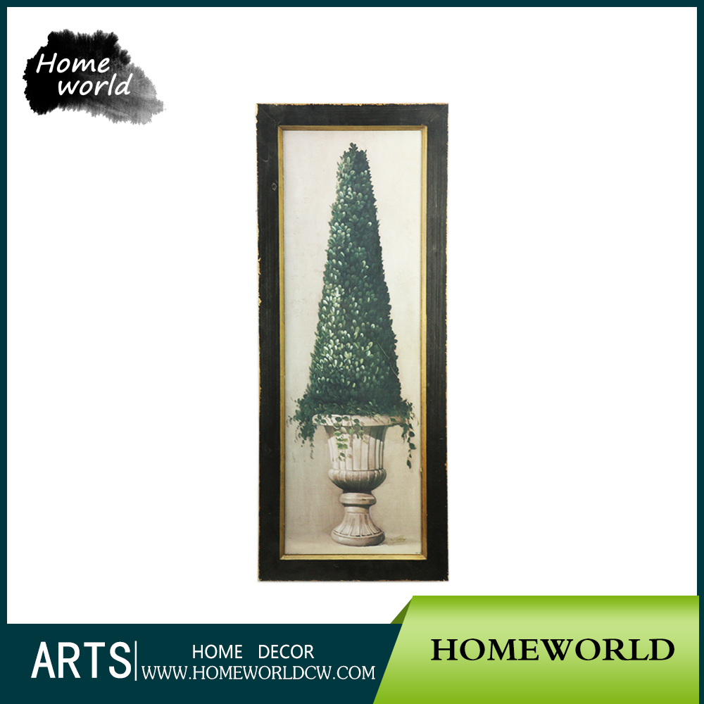Black Frame Distressed Gardening pot Wall House Artwork Painting