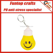 Customize printing smiley light bulb anti stress key chain