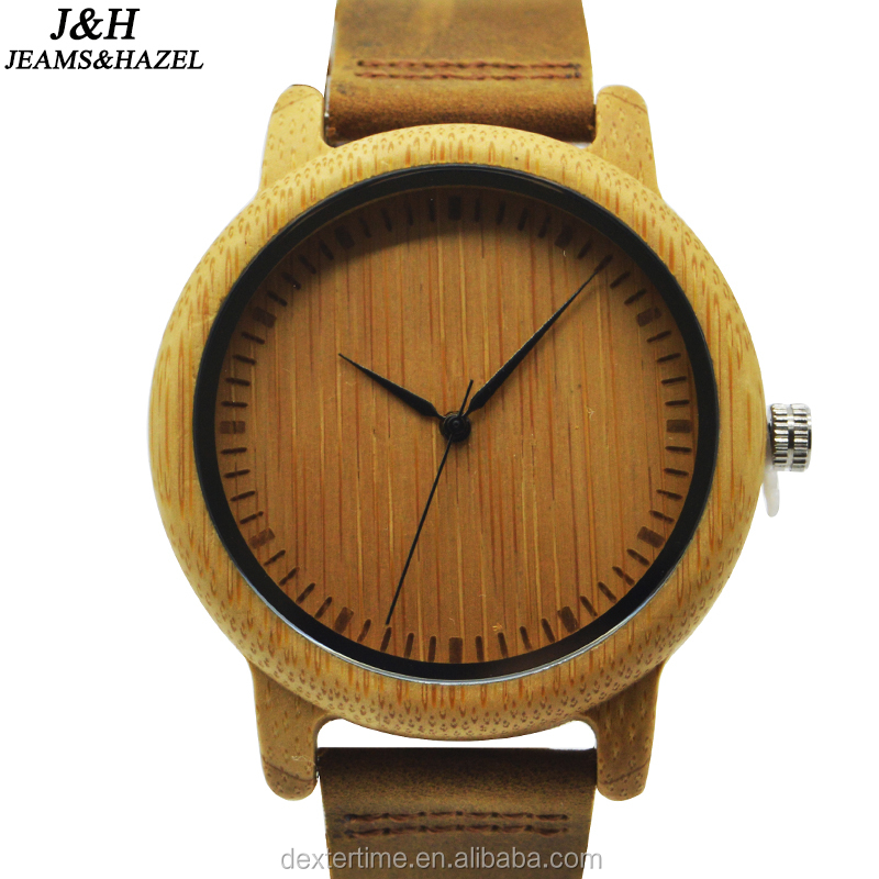 New brand Simple style elegant wooden watches genuine leather mans watch japan movement custom design wrist watches