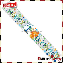 Wholesale Cheap Party Decoration Age 1 Boy Happy Birthday Banner Foil Party Banner - Banners And Signs