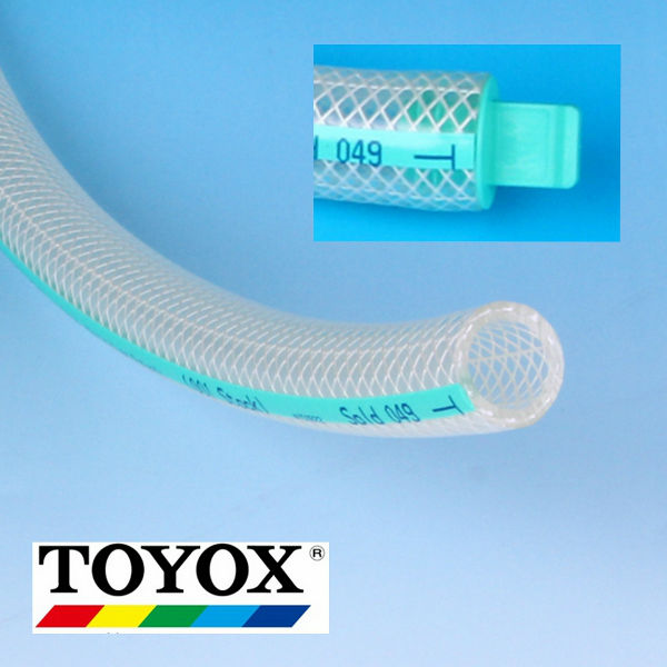 Various sizes of TOYOFOODS soft PVC food tube for oil, fats, beverages, hot water. Manufactured by Toyox. Made in Japan