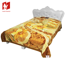Double 2 Ply King Korean Polyester Royal Super Soft Mink Cloudy Blanket With 3d Flower Embroidery