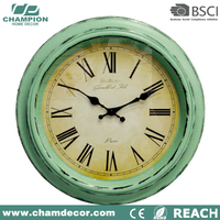 16 inch antique design plastic round electronic wall clock , antique reproduction french clock