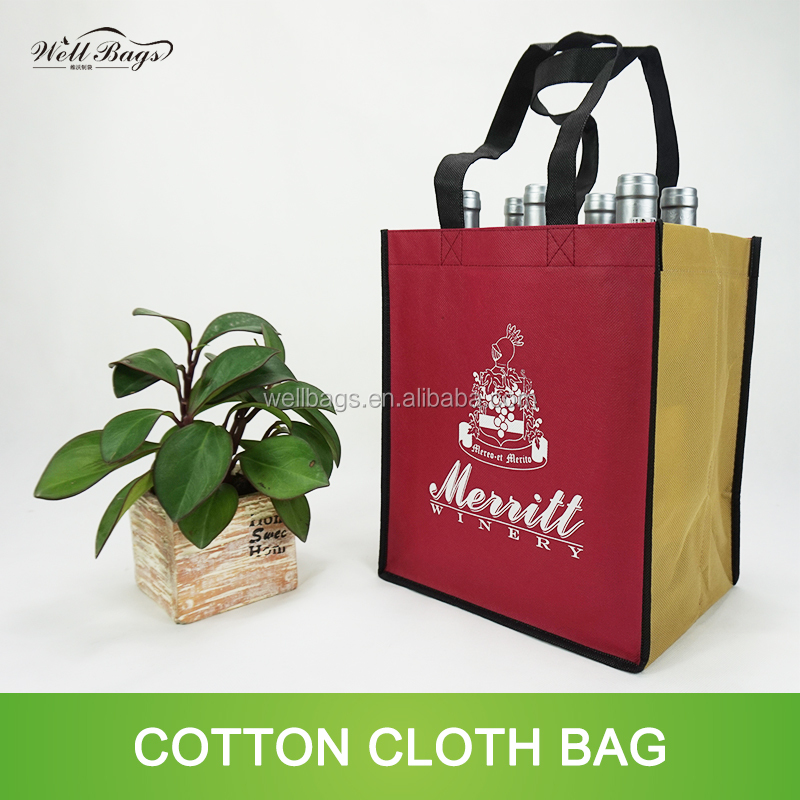 custom promotional non woven 6 packed bottles Wine tote bag with X stitched alibaba trade assurance