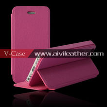 Hot Sell GuangZhou Factory Genuine Cowhide Leather Book Flip Case for iphone5s