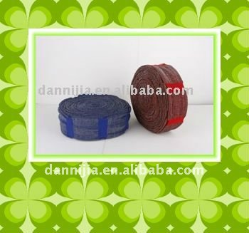 scouring pad material with steel wool