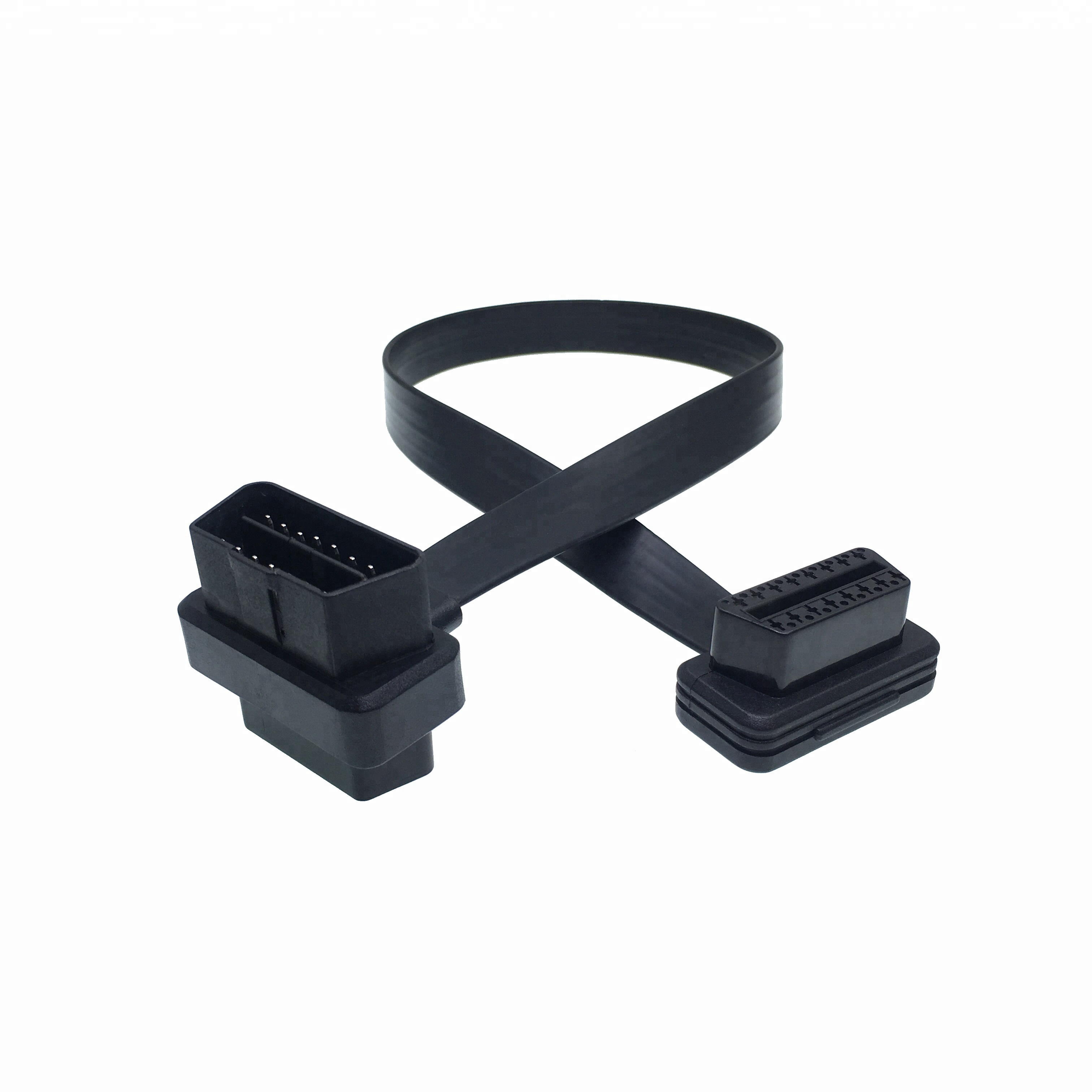 Custom 16pin right angle male female obd ii pass through