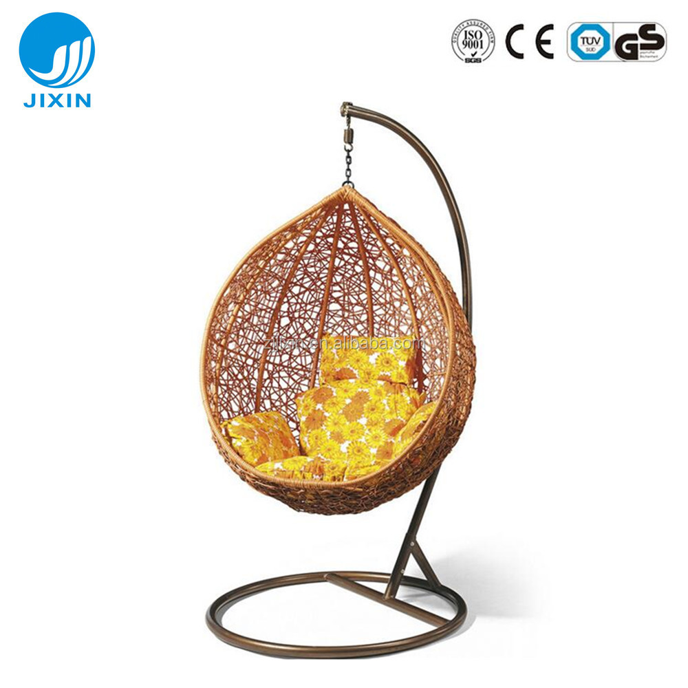 Indoor outdoor patio rattan wicker hanging egg swing chair with metal stand