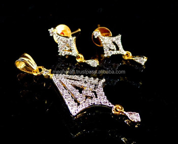 2016 popular American diamond jewelry pendant set - indian traditional cz jewelry - Bollywood style american diamond jewellery