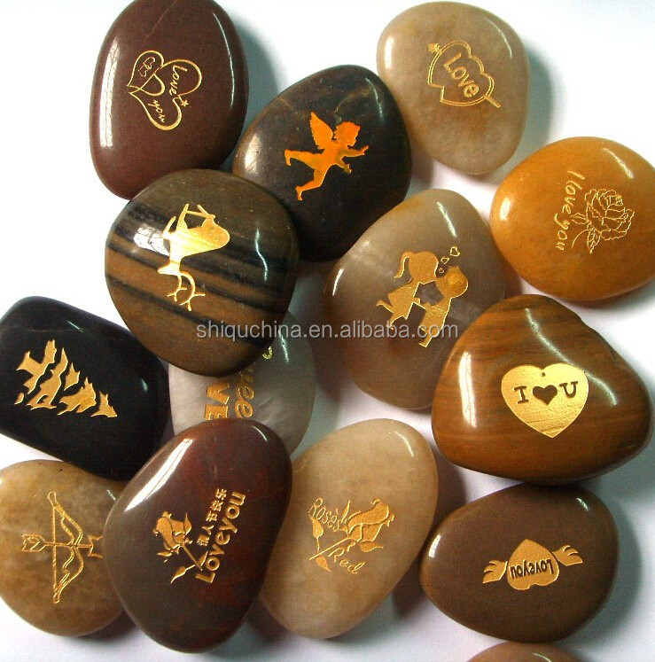 2015 new products fridge magnet natural river stone engraved stone with magnet for fridge