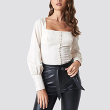 Custom Women White Button Front Long Puff Sleeve Sexy Corset Blouse Top