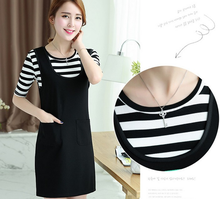 Fashion ladies dress women summer t shirt+ suspender skirt stripe casual Korean dresses
