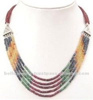 Natural Ruby, Emerald, Sapphire Beaded Gemstone Necklace