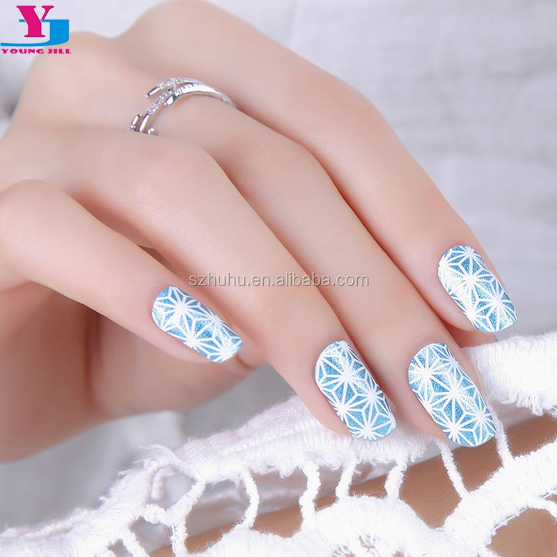 New Arrive Decoration Nails Art Sticker 100% Real Nail Polish Nail Wraps Patch Blue Flower 3D Design Long Lasting High Quality