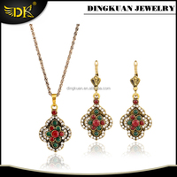 light weight antique gold plated necklace and earrings set environmental jewelry