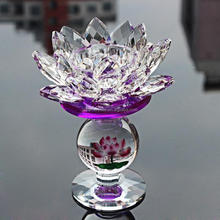 Pujiang Factory Crystal votive Lotus Flower Shape Glass Candle Holder, Candelabra For Wedding Centerpieces