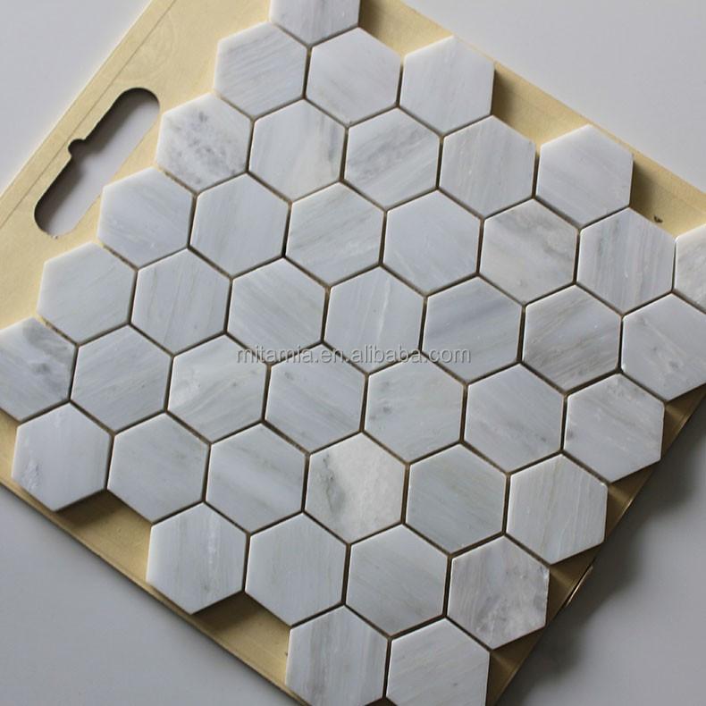 Oriental hexagone marbre blanc mosa que pour planchers et for Carrelage hexagonal marbre
