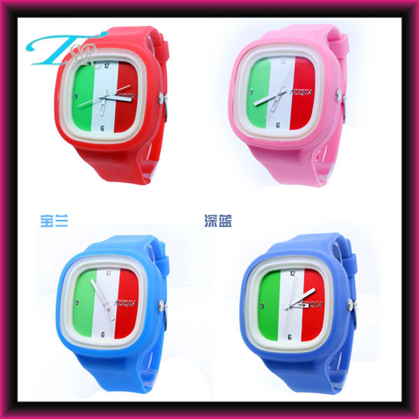 Italy UK national flag watches with silicone band and big face water resistant brand style 2013